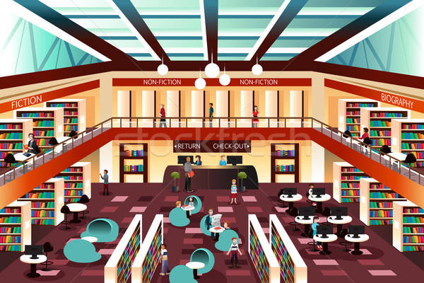 Modern looking library Stock photo © artisticco