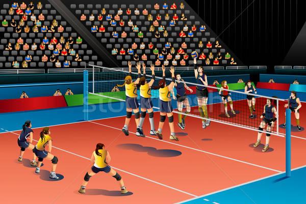 люди играет волейбол конкуренция спорт группа Сток-фото © artisticco