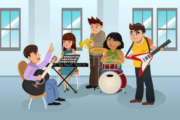 Studenten muziek klasse leren instrument man Stockfoto © artisticco