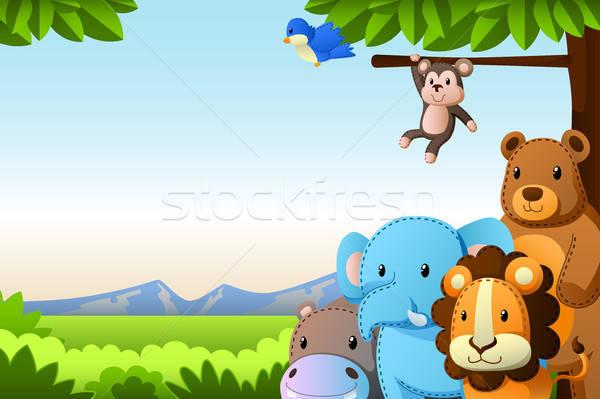 野生動物 背景 猴子 叢林 承擔 畫 商業照片 © artisticco