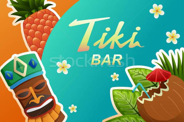 Tiki Bar Poster Illustration Stock photo © artisticco