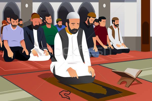 Prière mosquée illustration prière dessin cartoon Photo stock © artisticco