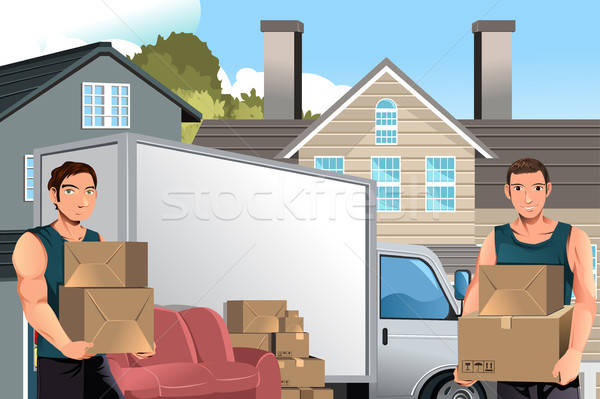 Moving men with truck and boxes Stock photo © artisticco