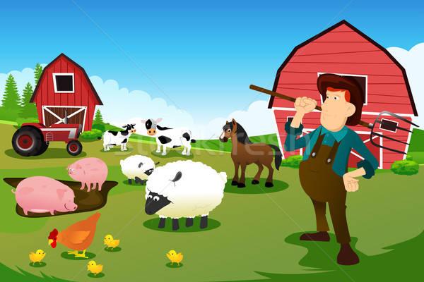 Farmer and tractor in a farm with farm animals and barn Stock photo © artisticco