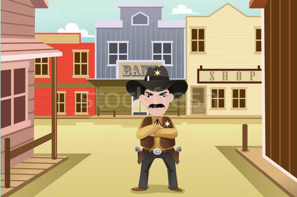 Sheriff permanente oude westerse stad man Stockfoto © artisticco
