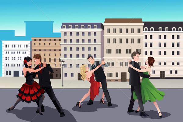Personas baile tango europeo estilo edificios Foto stock © artisticco