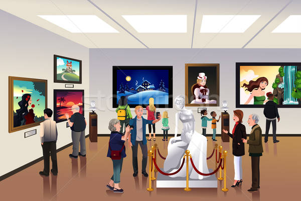 People inside a museum Stock photo © artisticco
