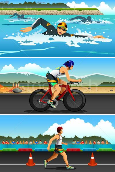 Triathlon esportes competição bicicleta exercer bicicleta Foto stock © artisticco