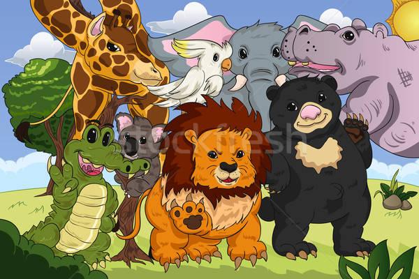 állat királyság poszter erdő háttér dzsungel Stock fotó © artisticco
