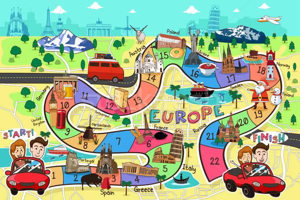 Utazás társasjáték terv Európa épület gyermek Stock fotó © artisticco