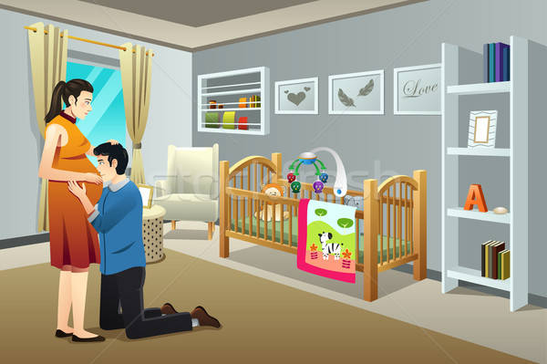Pregnant Woman with Her Husband in the Nursery Room Stock photo © artisticco