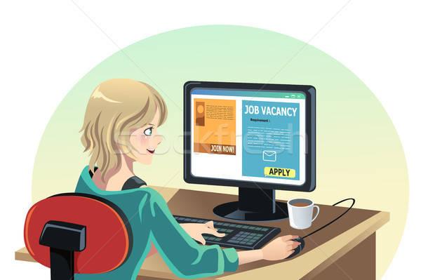 Vrouw zoeken baan online internet reclame Stockfoto © artisticco