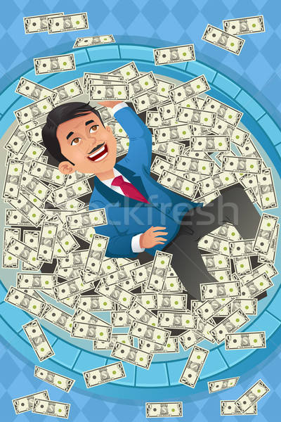 Financial concept of a happy businessman in a pool of money Stock photo © artisticco