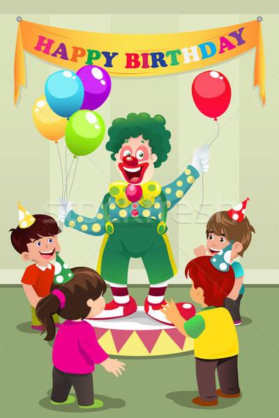 Stockfoto: Clown · ballonnen · kinderen · verjaardagsfeest · partij