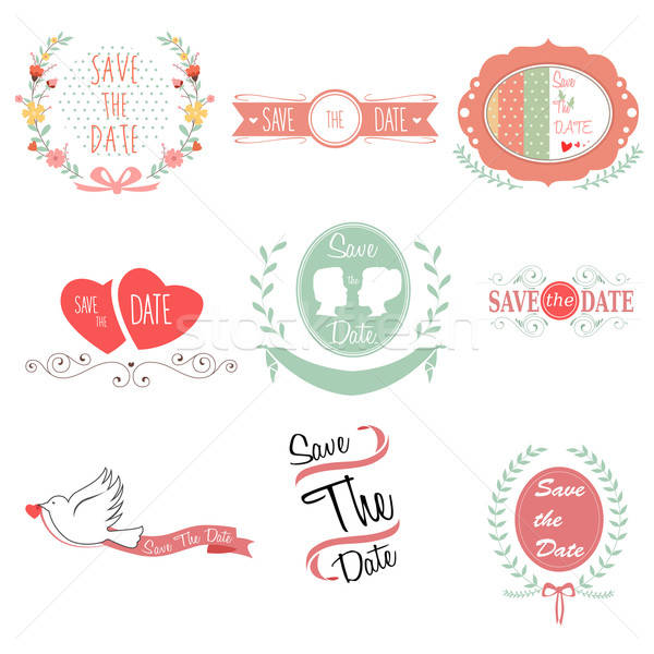 Stockfoto: Opslaan · datum · bruiloft · ontwerp · liefde · hart