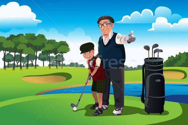 Grootvader onderwijs kleinzoon spelen golf oefening Stockfoto © artisticco