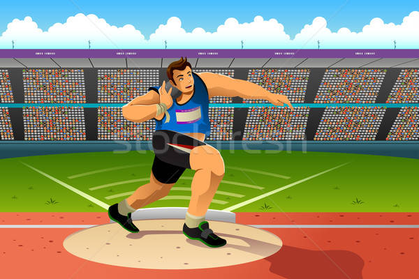 Shot putter in a shot put competition Stock photo © artisticco