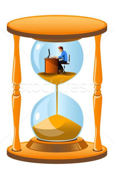Pracownik biurowy wewnątrz klepsydry ostateczny termin działalności biznesmen Zdjęcia stock © artisticco