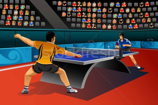 Erkekler oynama masa tenisi rekabet spor adam Stok fotoğraf © artisticco