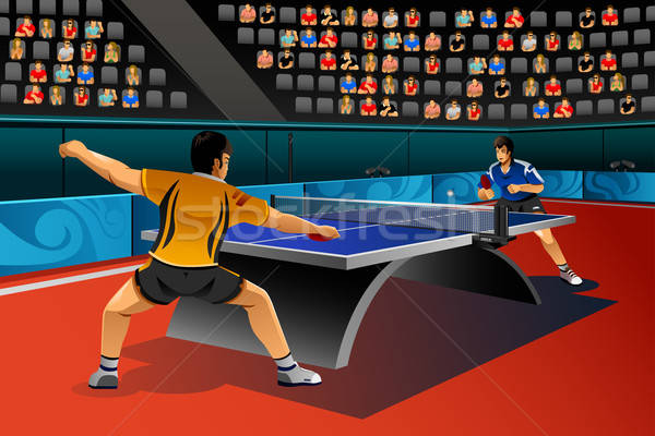 Hommes jouer tennis de table concurrence sport homme Photo stock © artisticco