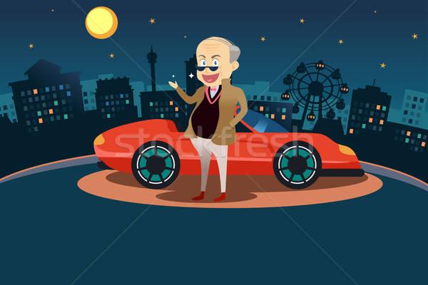 Bogate człowiek stałego sportu samochodu szczęśliwy Zdjęcia stock © artisticco