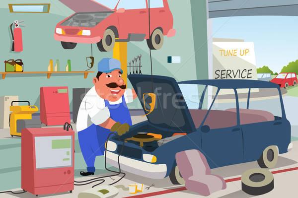 Automechaniker Festsetzung Auto Garage Arbeitnehmer Service Stock foto © artisticco