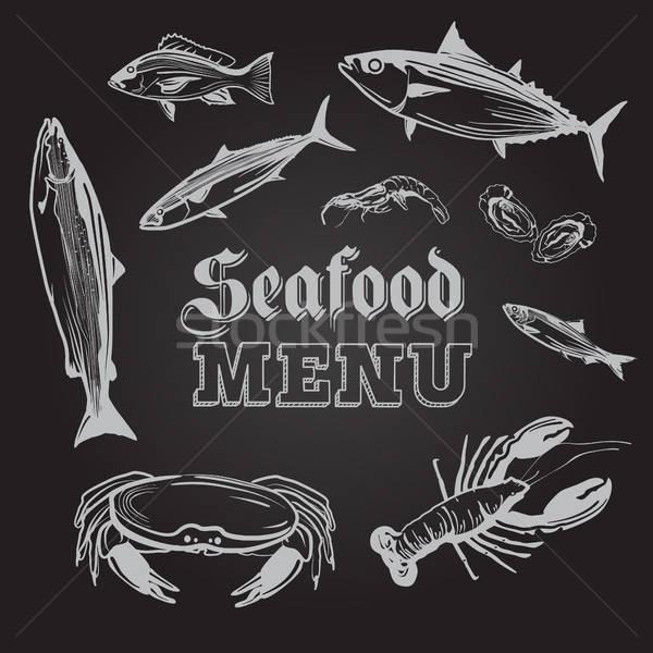 Mariscos menú ilustración peces moderna cangrejo Foto stock © artisticco
