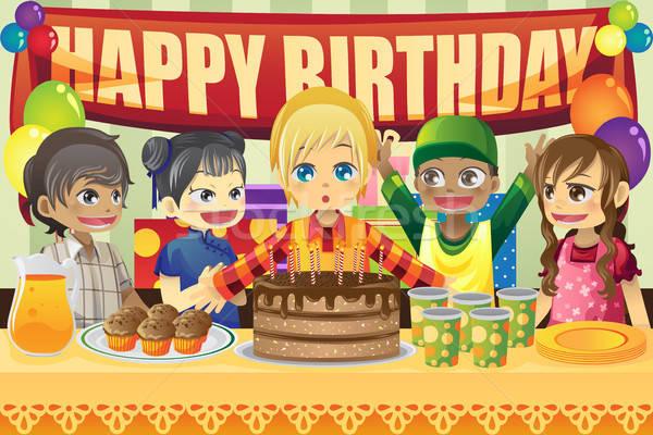 Gyerekek születésnapi buli több nemzetiségű buli gyerekek születésnap Stock fotó © artisticco