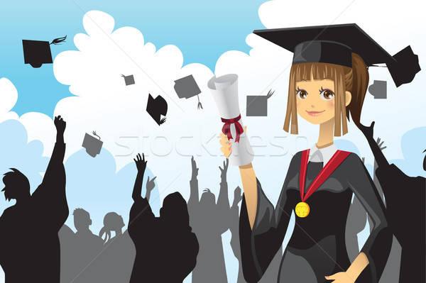 Graduation girl holding diploma Stock photo © artisticco