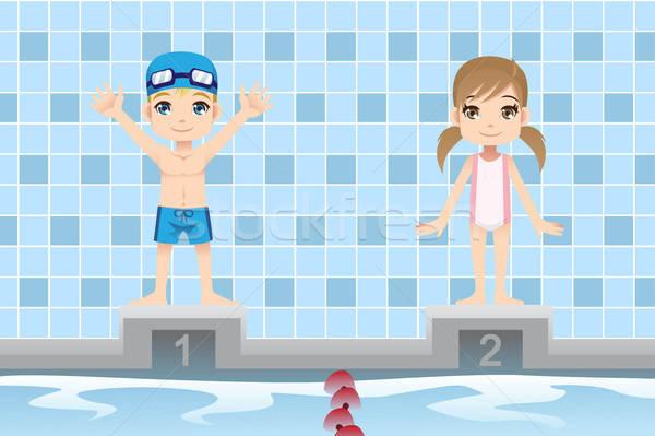 Pływak dzieci chłopca dziewczyna pływanie konkurencja Zdjęcia stock © artisticco