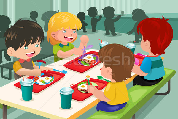 Elementary students eating  lunch in cafeteria Stock photo © artisticco