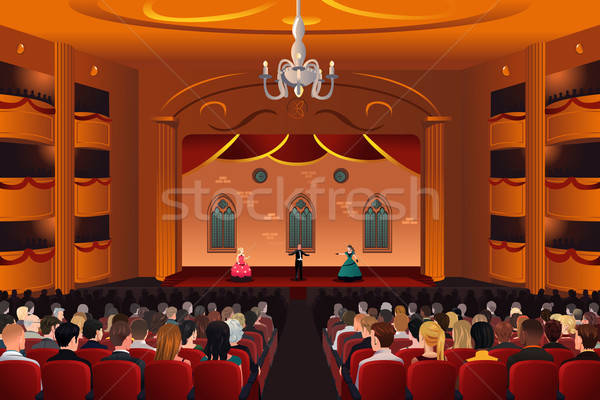 Spectators inside a theater Stock photo © artisticco