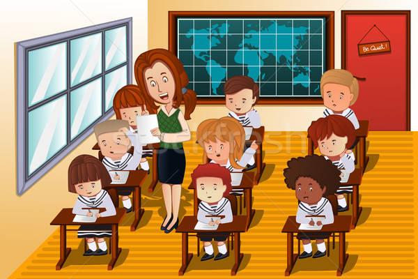Diákok elvesz vizsga osztály diák tanár Stock fotó © artisticco