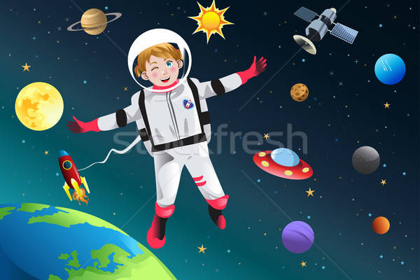 Girl Dressed Up as Astronaut Stock photo © artisticco