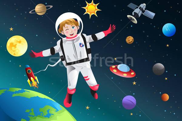 Dziewczyna w górę astronauta dziewczynka księżyc nauki Zdjęcia stock © artisticco