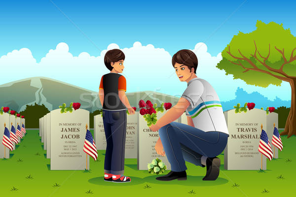 Father Son Visiting Cemetery on Memorial Day Stock photo © artisticco