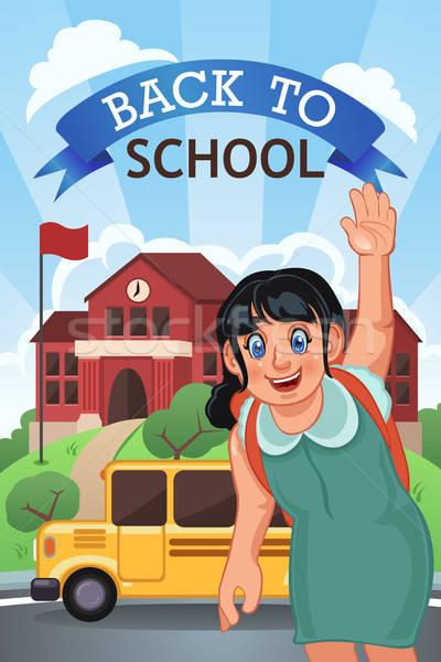 Terug naar school poster exemplaar ruimte meisje student bus Stockfoto © artisticco