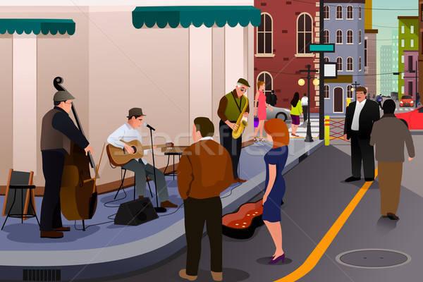 джаза музыканта играет улице город музыку Сток-фото © artisticco