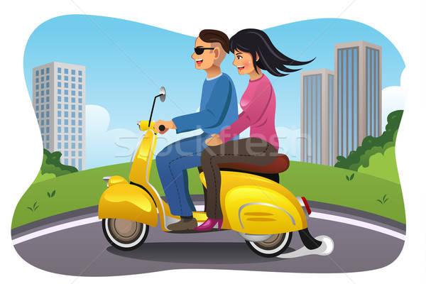 Couple Riding a Motorcycle Stock photo © artisticco