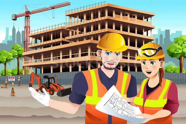 Travail Homme travailleur de la construction collègue femme bâtiment Photo stock © artisticco