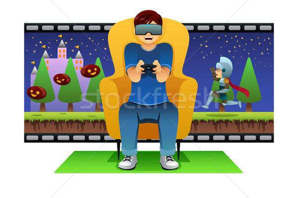 Man Playing Virtual Reality Game Illustration Stock photo © artisticco