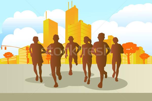 マラソン ランナー 市 女性 男性 を実行して ストックフォト © artisticco
