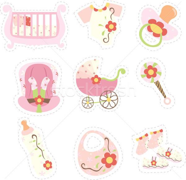商业照片 / 矢量图: 图标 · 婴儿 · 鞋 · 粉红色 · 画 / a