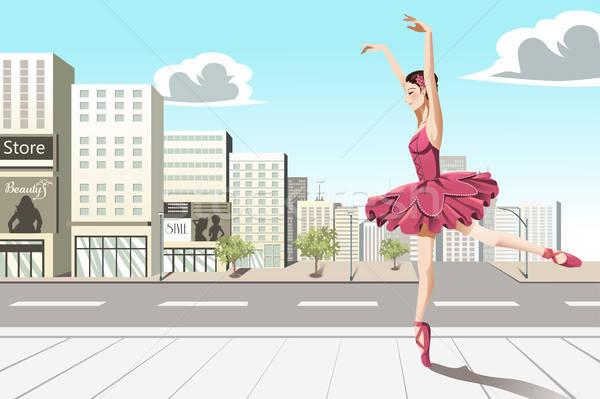 Baletnica miasta taniec dziewczyna budynków balet Zdjęcia stock © artisticco