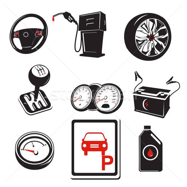 Auto iconos coche dibujo velocímetro icono Foto stock © artisticco