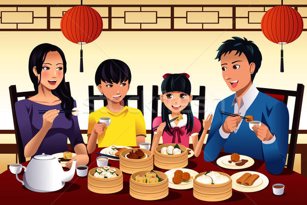 Chinese family eating dim sum Stock photo © artisticco