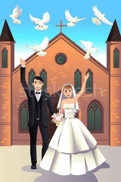Bruiloft paar witte dag meisje Stockfoto © artisticco
