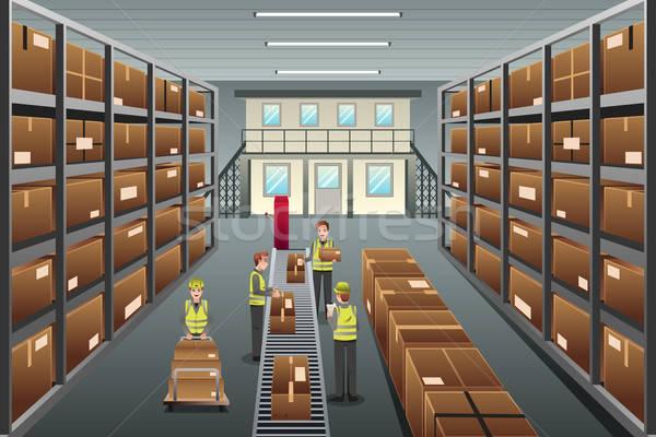 Dystrybucja magazynu działalności przemysłu pracownika przemysłowych Zdjęcia stock © artisticco