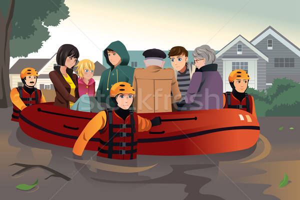 Rescue team helping people during flooding Stock photo © artisticco