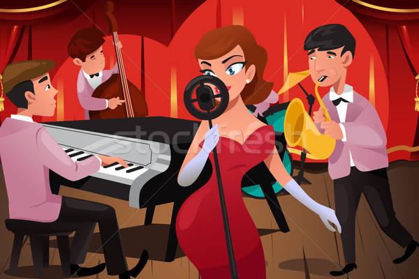 Jazz banda femenino cantante club nocturno hombre Foto stock © artisticco